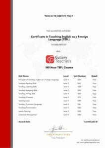 GT 180 TEFL Certificate Demo